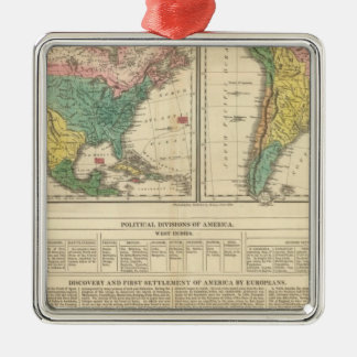 European Discovery of America Atlas Map Metal Ornament