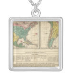 European Discovery of America Atlas Map Square Pendant Necklace