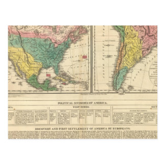 European Discovery of America Atlas Map Postcard