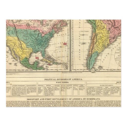 European Discovery of America Atlas Map Postcard