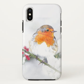 European English Robin Bird Winter Holly Berries iPhone X Case