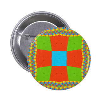 European ethnic tribal pattern pinback button