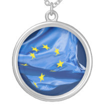 European flag silver plated necklace
