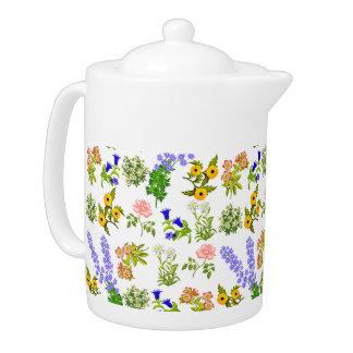 European Garden Flowers Teapot