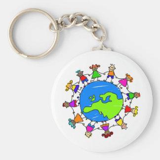 European Kids Basic Round Button Keychain