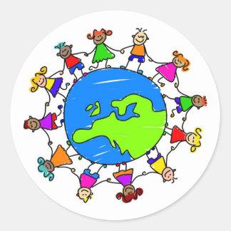 European Kids Round Stickers