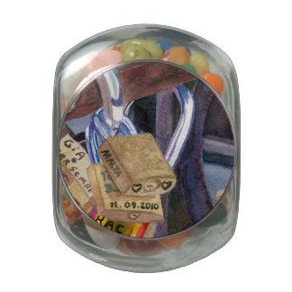 European Locks Glass Candy Jar