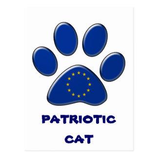 European patriotic cat postcard