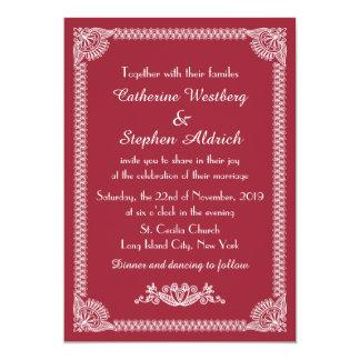 European Red Burgundy Floral Wedding Invitation