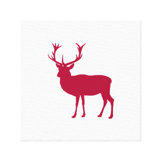 European Red Deer Christmas or Stag Party Canvas Print
