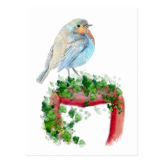 European Robin on Shovel, Watercolor Bird Postcard