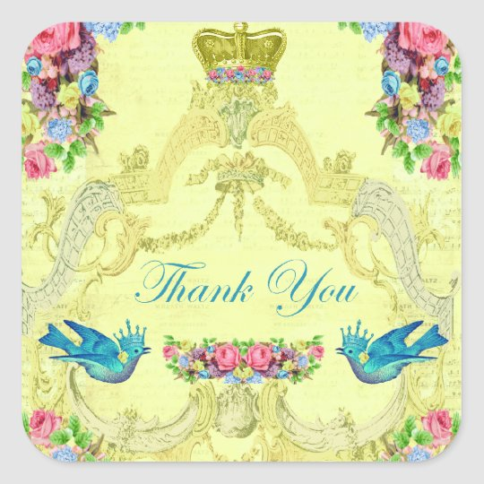 European Royalty Thank You Sticker/Seal Square Sticker