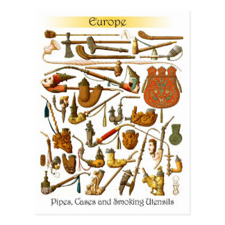 European smoking pipes cases and utensils postcard
