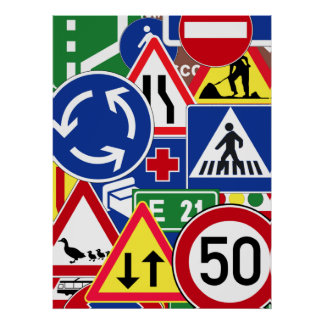 European Traffic Signs Collage