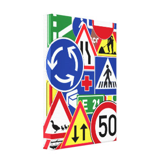European Traffic Signs Collage Gallery Wrap Canvas