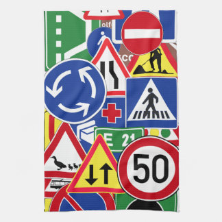 European Traffic Signs Collage Kitchen Towels