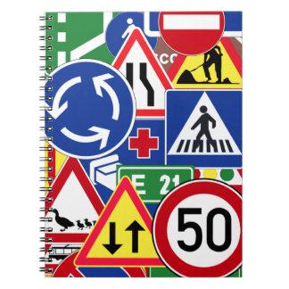 European Traffic Signs Collage Spiral Notebooks