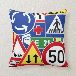 European Traffic Signs Collage Pillows