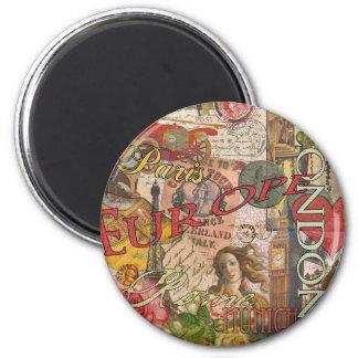 European Travel Vintage London Rome Paris 2 Inch Round Magnet