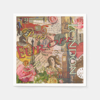 European Travel Vintage London Rome Paris Paper Napkin