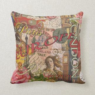 European Travel Vintage London Rome Paris Pillow
