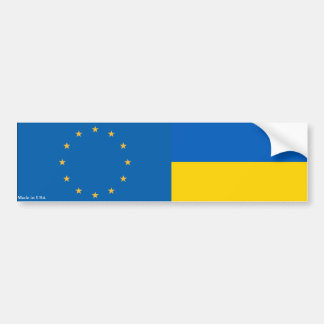 European Union and Ukrainian Flag Bumper Sticker