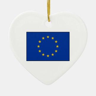 European Union - EU Flag Double-Sided Heart Ceramic Christmas Ornament