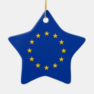 European Union - EU Flag Double-Sided Star Ceramic Christmas Ornament