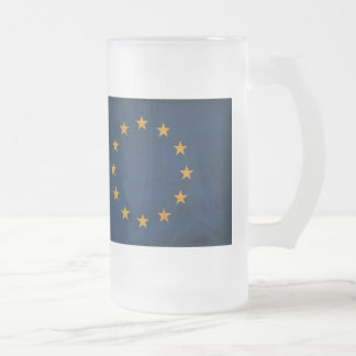 European Union Flag Frosted Glass Beer Mug