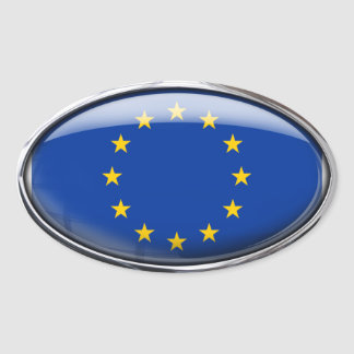 European Union Flag in Glass Oval (pack of 4) Oval Sticker