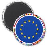 European Union Flags 2 Inch Round Magnet