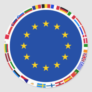 European Union Flags Classic Round Sticker