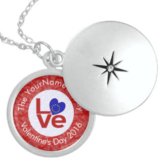 European Union or EU LOVE White on Red Sterling Silver Necklace