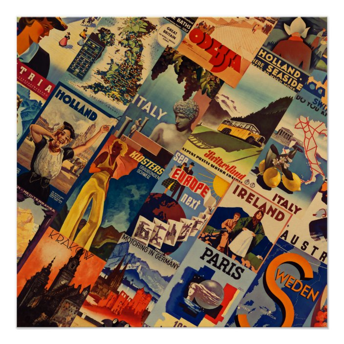 European Vintage Travel Posters Collage Poster Zazzle Com
