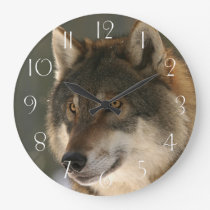 European Wolf Large Clock