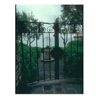 European wrought iron gate postcard