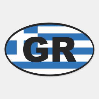 Europeo de Grecia GR Calcomania Ovaladas Personalizadas