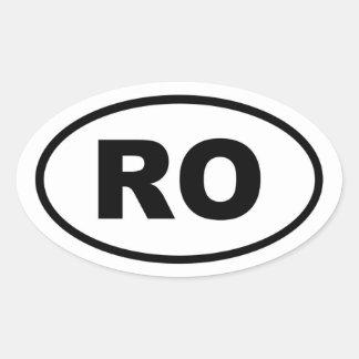 Europeo del RO de Rumania Calcomanías Óvales