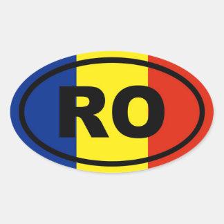 Europeo del RO de Rumania Pegatina Ovalada