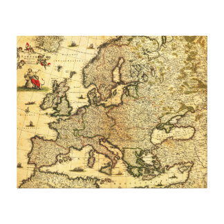 EuropePanoramic MapEurope 3 Stretched Canvas Prints