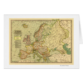 EuropePanoramic MapEurope 3 Greeting Card