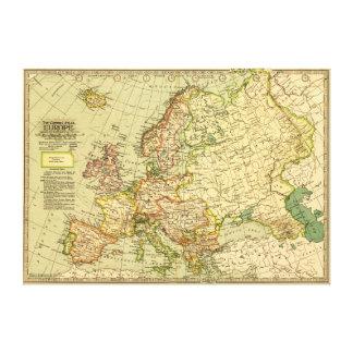 EuropePanoramic MapEurope Canvas Prints