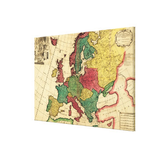 EuropePanoramic MapEurope Stretched Canvas Print