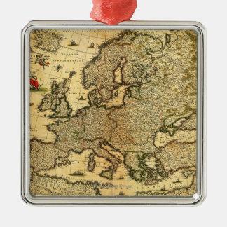 EuropePanoramic MapEurope Metal Ornament