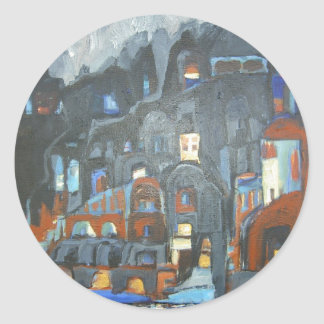 Europes Buildings of Old >Original Painting Classic Round Sticker