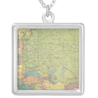 Europe's overland, sea communications silver plated necklace