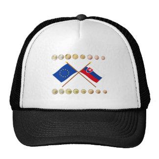 Euros eslovacos y banderas de la UE y de Eslovaqui Gorros