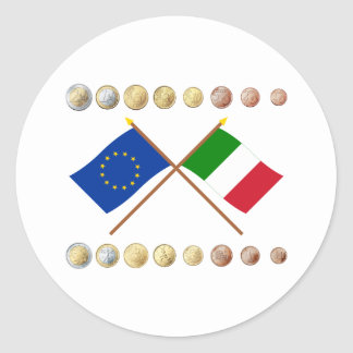 Euros italianos y banderas de la UE y de Italia Pegatina Redonda