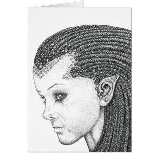 Euryale (cara) - tarjeta de felicitaciones en blan