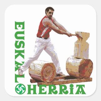 Euskal Herria: Corte de madera vasco Pegatina Cuadrada